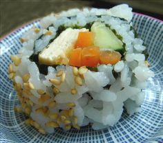 Veggie Sushi--Tofu Maki  filled with tofu, carrots, avocados, green onions and cucumber.  #Vegetarian #Tofu