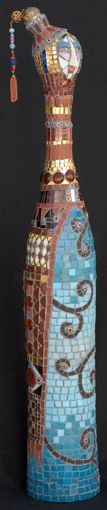 """Philosopher    30"""" x 5""""    glass, beads, millefiori, gold, porcelain, polymer clay    2005"""