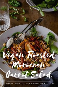 This Roasted Moroccan Carrot Salad is a fantastic vegan salad packed full of spices- and hearty and satisfying enough to feed a crowd.  #vegan #vegetarian #healthyrecipe Delicious Vegan Recipes, Vegetarian Recipes, Vegan Vegetarian, Healthy Recipes, Healthy Food, Bhg Recipes, Salad Recipes, Dinner Recipes, Free Recipes