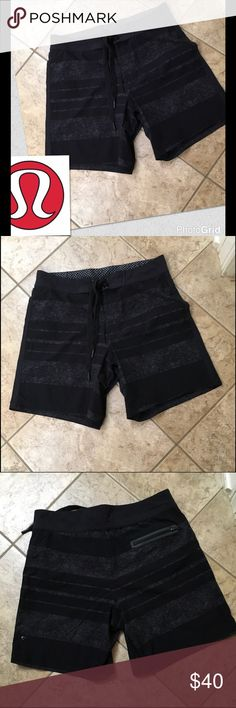 Men's Lululemon swim shorts SZ 32 Black striped marbled lined with zip pocket in back in great used condition no stains no rips lululemon athletica Shorts Athletic
