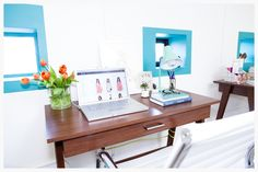 Fashionista's NYC office, designed by Dani Arps, complete with The Sill's white Ezras potted with succulents (thesill.com)