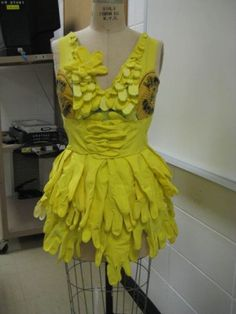 A dress made from rubber gloves and whoopie cusions haha