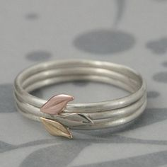 Leaf Stacking Set--Solid 14K Gold Leaves on Sterling Silver Bands--Set of 3 Stacking Rings with Yellow, White and Rose Gold Leaves