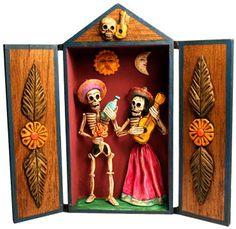Retablo Skeleton Music Couple, Peru-- Day of the Dead