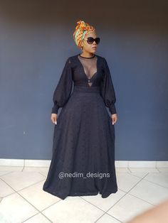 African Party Dresses, African Dresses For Women, African Attire, African Fashion Dresses, Fashion Outfits, Zulu Traditional Attire, Traditional Dresses, Black Funeral Dress, Wedding Attire For Women