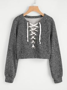 Shop Grommet Lace Up Marled Knit Crop Sweatshirt online. SheIn offers Grommet Lace Up Marled Knit Crop Sweatshirt & more to fit your fashionable needs. Komplette Outfits, Teen Fashion Outfits, Trendy Outfits, Girl Fashion, Summer Outfits, Fashion 2018, Womens Fashion, Kleidung Design, Cut Up Shirts