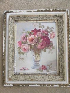 OMG Christie REPASY Canvas Print PINK ROSES in Vase CHIPPY Old White GESSO Frame