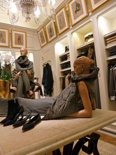 PARIS Ralph Lauren flagship store:  We sigh at the beautiful symmetry of the cabinetry...