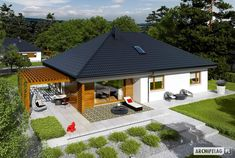 House design Astrid - top view - Small home - Bungalow House Plans, Bungalow House Design, Small House Design, New House Plans, Small House Plans, 4 Bedroom House Designs, Model House Plan, Village Houses, Facade House