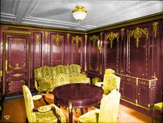 this sitting room, original located on c deck and this inspired the parlour suite b-52 in the film, 'Titanic' this is a colorized photo