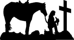 cowboy and horse praying at the cross clipart | Cowboy Praying Cross His Horse God Trust Vinyl Cut Pictures