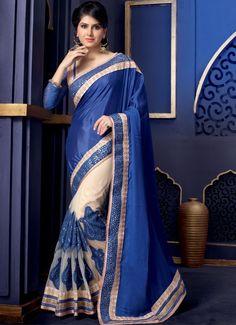 Blue & Cream Color Net & Pure Crepe Saree