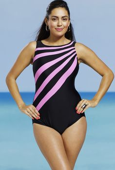 9ebf1070542 Delta Burke Pink Splice City Plus Size High Neck Tank Swimsuit Swimsuits  For All