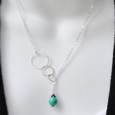 Silver Eternity Necklace, Turquoise Lariat Necklace, Three Circle Necklace, Infinity Necklace, Sterling Silver Jewelry Handmade