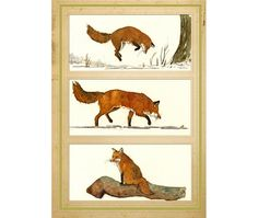 PRINT-Red fox forest print watercolor by SanMartinArtsCrafts