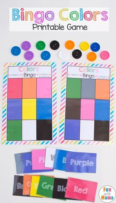 This fun free printable bingo colors game template for kids is the perfect way to work on colors for toddlers and preschoolers. This color match game can be used in so many different ways and is so versatile! via @funwithmama