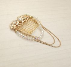 Bridal Hair Comb Gold Crystal Hair Comb Romantic by YaelSteinberg, $72.00