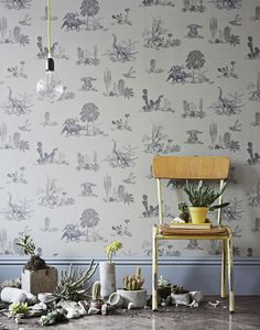 tienda online telas & papel | Papel pintado Dinosaurios grises
