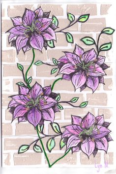 Multi media.  Texture paste blended with large grain gel and PaperArtsy chalk finish pint in Stone, applied with palette knife.  Rubadubadoo 'clematis' flowers coloured with neo-color II crayons.  Craft wires for supports, embroidery floss for stems.