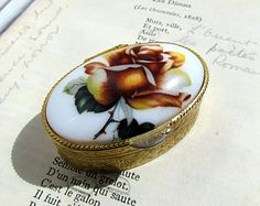 Antique rose trinket pill box with plastic inlay