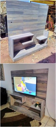 This last image will make you show out the artistic designing of the amazing media TV stand brilliant put together with the wood pallet ideal all into it. This whole project designing is so innovative looking being fantastic put together with simplicity approaches. #furnituredesign