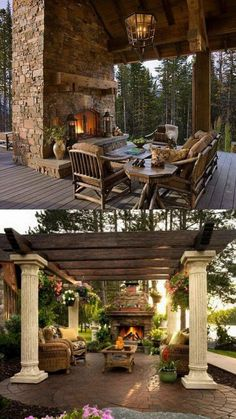 Amazing Outdoor Fireplace Designs - This is how you will want to upgrade your outdoor space for the coming summer. These affordable decor hacks will upgrade your patio or backyard in no time Outdoor Areas, Outdoor Rooms, Outdoor Living, Outdoor Structures, Outdoor Decor, Outdoor Kitchens, Outdoor Fireplace Designs, Outdoor Fireplaces, Modern Fireplaces