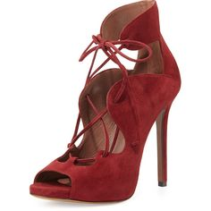 Tabitha Simmons Reed Suede Lace-Up Sandal ($447) ❤ liked on Polyvore featuring shoes, sandals, dark cherry, high heel shoes, peep toe shoes, peeptoe shoes, suede lace up sandals and suede lace up shoes