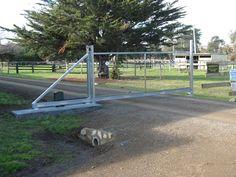 Rural Sliding Gate Kit - Solar - Fence and gate Supplies Fence Gate Design, Main Gate Design, Electric Garage Doors, Gate Operators, Concrete Pad, Farm Gate, Gate Hardware, Sliding Gate, Automatic Gate