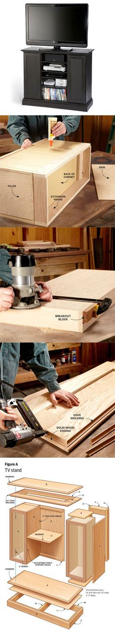 Looking for inexpensive DIY furniture plans? These three projects will show you how to turn stock kitchen cabinets into a TV stand, a storage cabinet and an entry bench. Learn how to do it yourself at http://www.familyhandyman.com/DIY-Projects/Woodworking/Woodworking-Projects/diy-furniture