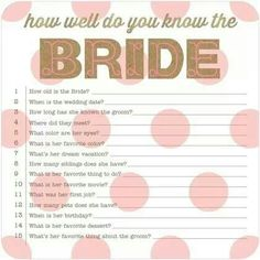 Great bridal shower game
