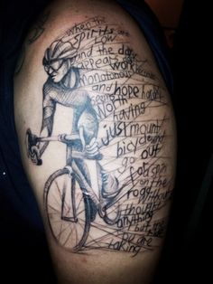 "the cyclist. a truly enjoyable session. always blessed with requests for interesting tattoos. <3  skin: Joyce Wanartist: Peenut"" Lee studio: vagabond ink, singapore"
