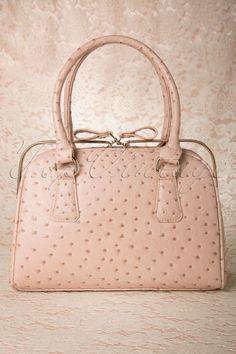 Milan - Vintage Chic Ostrich Handbag in Powder Pink
