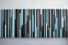 Modern Wood Sculpture Wall Art - Lines - 20 x 60