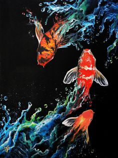 "The noble Koi is a great symbol of perseverance. We see a koi swim up only to get knocked down. Notice he is swimming up again always in the pursuit of perfection in this ""Endless Journey"" Koi Kunst, Koi Painting, Koi Art, Koi Fish Tattoo, Illustration Art, Illustrations, Gcse Art, Black Paper, Japanese Art"