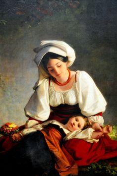 Neue Pinakothek Art Museum Munich Germany  August Riedel (1799-1883) - Eine Mutter aus Alvito (1848) - A mother from Alvito