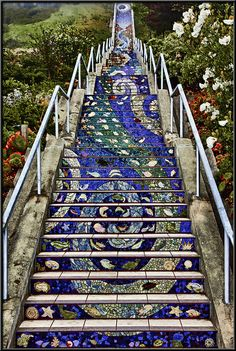 The Avenue Staircase is 163 steps of mosaic tiles, a colorful staircase hidden in the quiet Sunset district of San Francisco Stair Art, Stair Decor, Graffiti Furniture, Tile Steps, Stairway To Heaven, Mosaic Art, Mosaic Tiles, Vacation Trips, Places To See