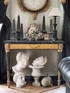 beautiful combination of classical ornamentation in grey & gold & cream
