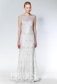Brides.com: . Trend: Metallic. Silver metallic lace sheath wedding dress with an illusion bateau neckline, Allure Bridals