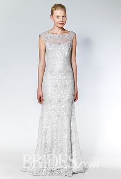 Brides: Allure Bridals - Fall 2015. Silver cap sleeve sheath wedding dress with a bateau neckline and floral lace overlay, Allure Bridals