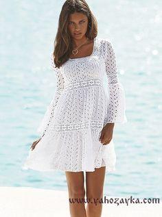 Платье с кокеткой спицами с описанием. Белое платье спицами с ажурной вставкой. | Я Хозяйка