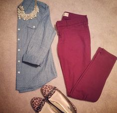 Burgundy pant . . . Polka dot chambray . . . Leopard print . . . Statement necklace . . . What's not to love?