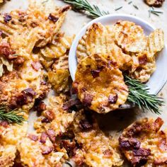 Sounds like you need to have some will power to eat this cheesy snack. With all the guests coming around for the holiday season, you'll want some snack ideas to keep them at bay till dinner. Bacon Recipes, Snack Recipes, Best Bacon, Half Baked Harvest, Holiday Appetizers, Party Snacks, Food And Drink, Stuffed Peppers, Dinner