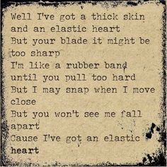Love this song so much.  Sia - elastic heart lyrics