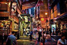 Staunton Street. Hong Kong, China. Mid-levels Escalator, SoHo.