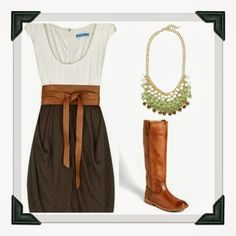 Absolutely love this fall dress + boots!!