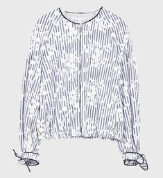 NWT ZARA Blue & White Striped Embroidered Jacket Floral Bomber Size S  4432/001 #ZARA #Bomber #Casual