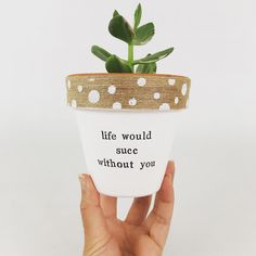 Friend moving away? Give this plant pot to let them know how much you care. Painted Plant Pots, Painted Flower Pots, Painted Pebbles, Decorated Flower Pots, Hand Painted, Flower Pot Crafts, Clay Pot Crafts, Flower Pot Art, Succulent Pots