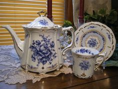 CUSTOM: Replica of Bavarian Baroness Teapot (and Matching Cup & Saucer) w/Blue Delft Pattern