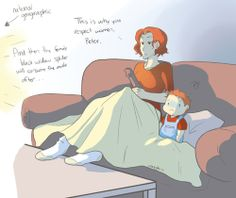 Natasha babysitting. She gives some life lessons to the young Peter.