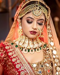 Head Jewelry, Jewelry Design Earrings, Bridal Jewelry, Bridal Makup, Bridal Makeup Images, Dulhan Dress, Indian Women Painting, Beautiful Indian Brides, Bride Portrait